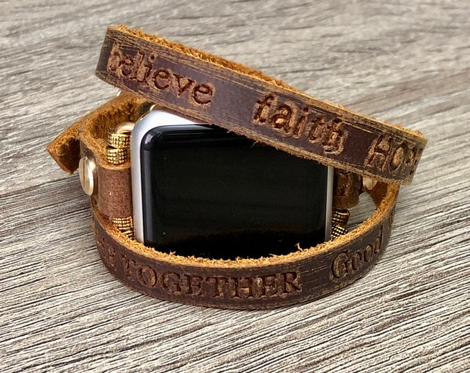 Handmade Brown Leather Bracelet for Apple Watch All Series Fashion Embossed Inspirational Words Jewelry Bracelet Designer Apple Watch Band