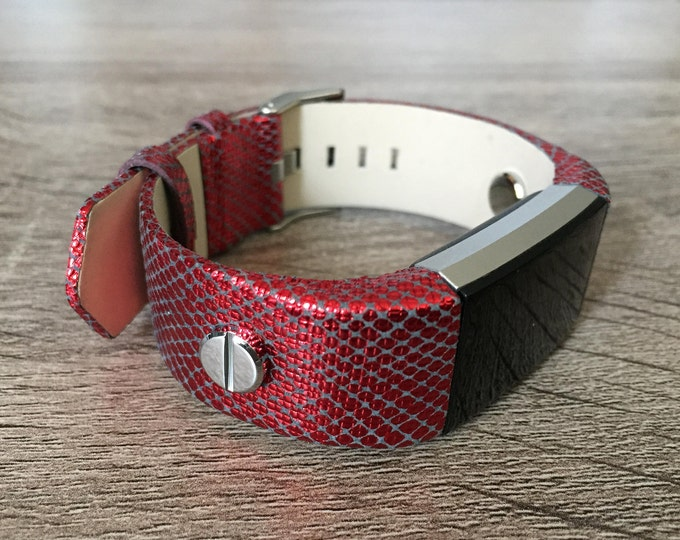 Electric Red Leather Bracelet for Fitbit Charge 2 HR Fitness Tracker Replacement Steampunk Band Stainless Steel Rivets Handmade Wristband