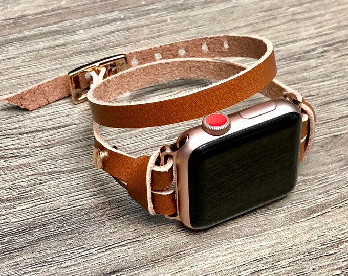 Rose Gold & Light Brown Leather Bracelet for Apple Watch 40mm 44mm iWatch Band Wrap Bronze Leather Apple Watch Band Women iWatch Bracelet