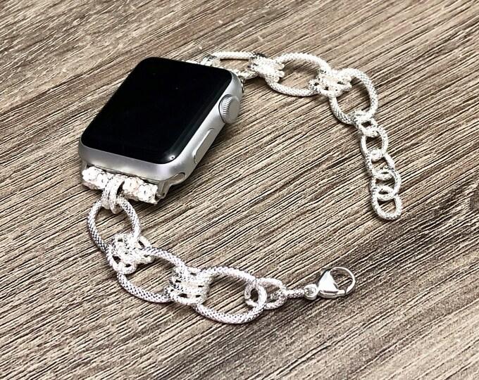 Elegant Silver Apple Watch Chain Bracelet Women 38mm 40mm Silver Metal Apple Watch 42mm 44mm Band Adjustable Apple Watch Jewelry Bracelet