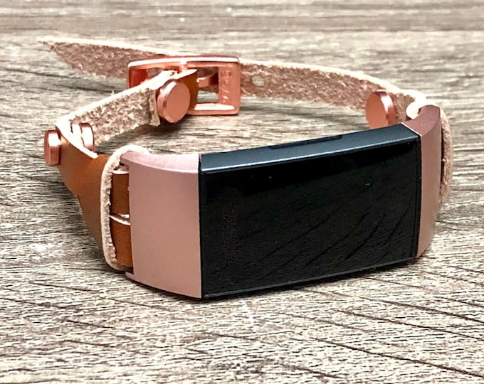 Bronze Leather Fitbit Charge 3 Band Double Wrapped Rose Gold Fitbit Charge 3 Strap Bracelet for Women Luxury Leather Fitbit Charge 3 Band