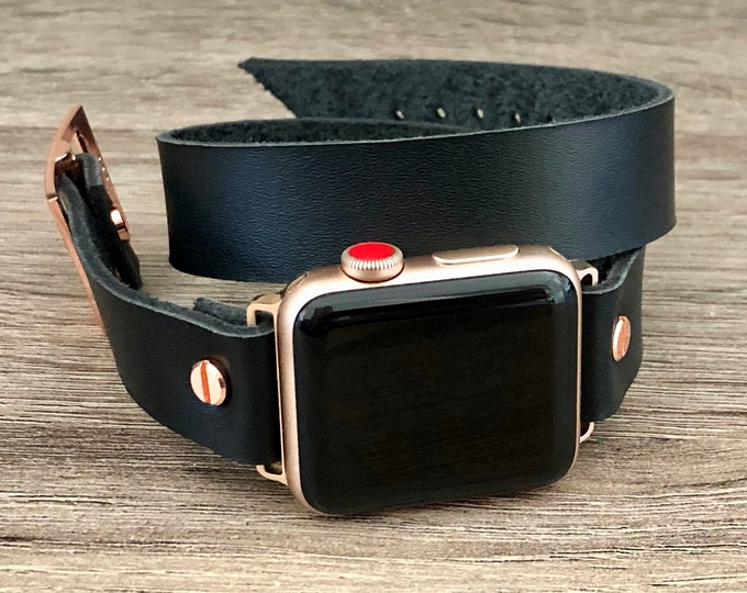 Rose Gold Apple Watch Band 38mm 40mm 42mm 44mm iWatch Bracelet Series 5 4 3 2 1 Adjustable Black Double Wrap Wristband Rose Gold Watch Band
