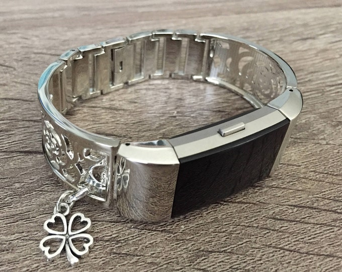 Silver Metal Band for Fitbit Charge 2 Fitness Activity Tracker Flowers Design Bangle Good Luck Clover Adjustable Fitbit Charge 2 Bracelet