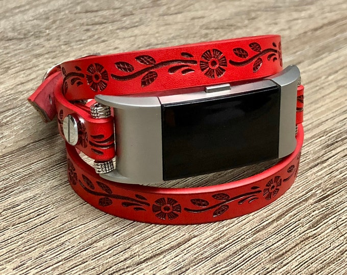 Red Flowers Leather Bracelet for Fitbit Charge 2 Tracker Handmade Multi Wrap Fitbit Charge 2 Band Adjustable Vegan Fitbit Jewelry Wristband