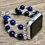 Lapis Lazuli & Sterling Silver Luxury Apple Watch Bracelet 8mm Lapis Lazuli - 6mm Sterling Silver Beads Apple Watch Jewelry for Women