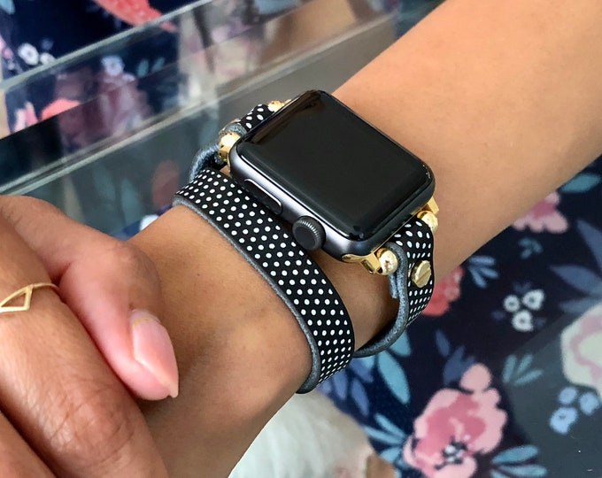 Polka Leather Apple Watch 38mm 40mm 42mm 44mm Band Double Wrap iWatch Strap Gold Apple Watch Wristband Adjustable Apple Watch Bracelet