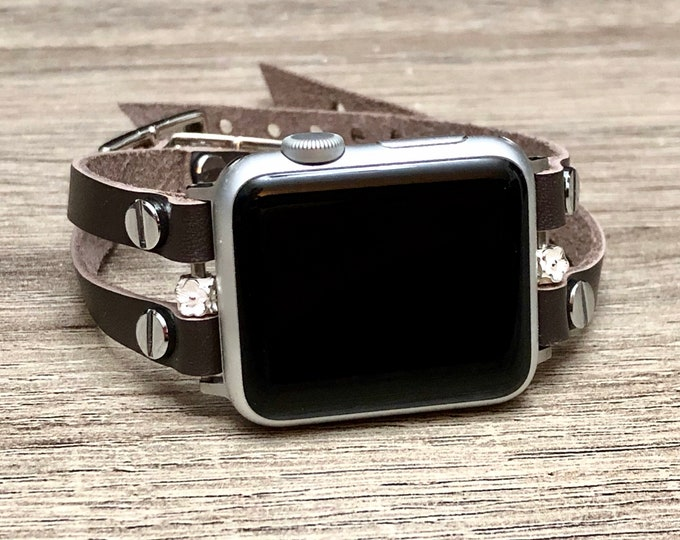 Dark Brown Leather Bracelet for Apple Watch Multi Wrap Wristband Two Toned Rivets Apple Watch Band Jewelry Apple Watch Strap Band Unisex