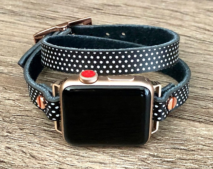 Apple Watch Band 38mm 40mm 42mm 44mm Polka Apple Watch Bracelet, Rose Gold Apple Watch Wristband, Vintage Leather Strap, Rustic Strapband
