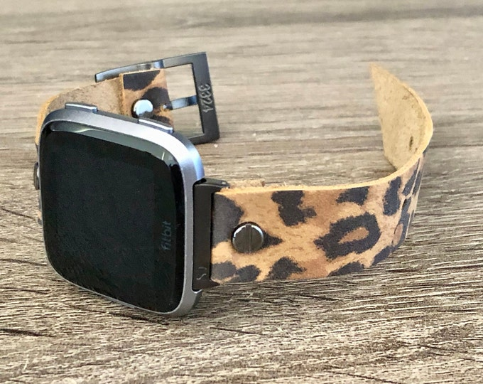 Leopard Fitbit Versa 2 Band Black Fitbit Versa Lite Watch Strap Fitbit Versa Leopard Print Band Adjustable 18mm Leather Watch Wristband