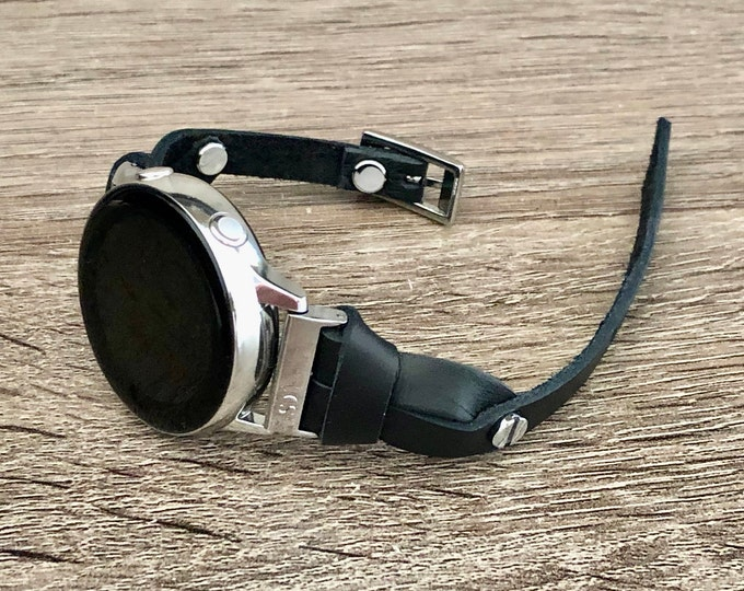 Samsung Galaxy Watch 42mm Active 2 Band Black Leather & Silver Galaxy Watch Wristband Galaxy Watch Bracelet Father's Day Gift Jewelry Idea