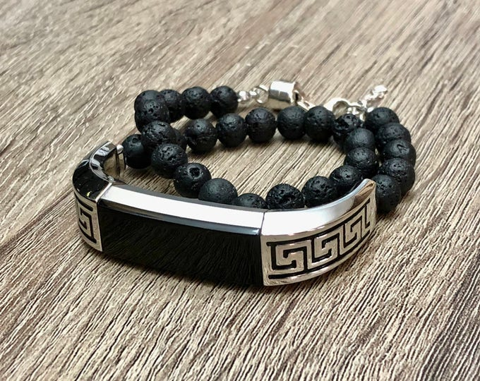 Black Lava Stones Bracelet for Fitbit Alta HR Tracker Natural Beads Jewelry Handmade Fitbit Alta HR Bands Adjustable Double Wrap Silver Band