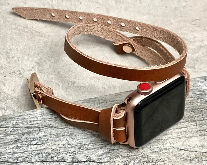 Rose Gold & Bronze Leather iWatch Band 38mm 40mm 42mm 44mm iWatch Strap iWatch Bracelet iWatch Wristband Double Wrap Apple Watch Bands