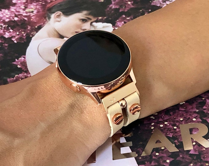 Vegan Leather Galaxy Active2 Band 40mm 44mm Watch Cream Color Leather Samsung Galaxy Watch 42mm Bracelet Women Galaxy Active Band Jewelry