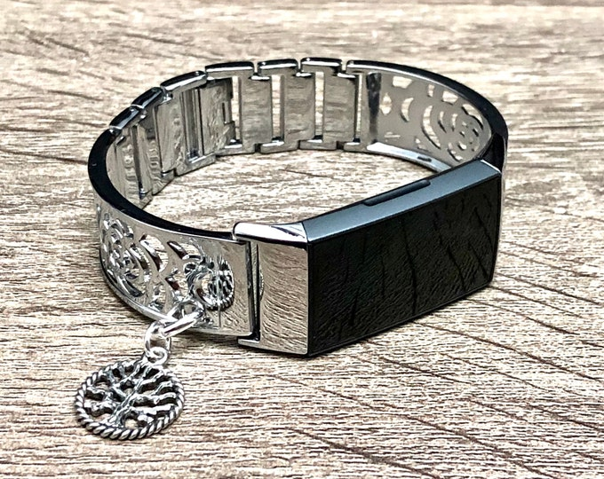 WOMEN FITBIT CHARGE 3 Band Silver Floral Design Vintage Tree of Life Medallion Fitbit Charge 3 Bracelet Fitbit Charge 3 Bangle Jewelry