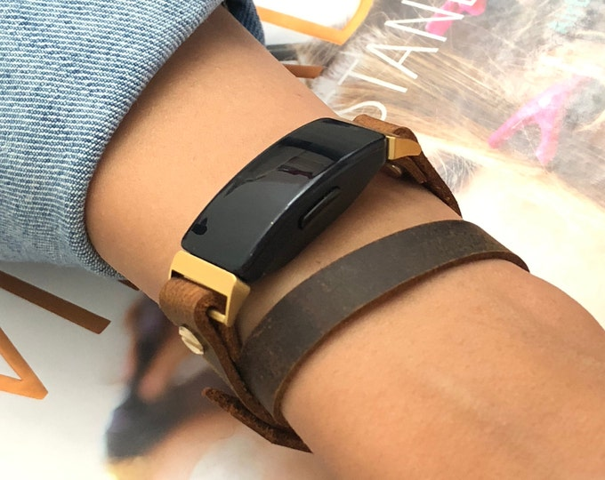 Brown Leather Fitbit Inspire Band, Gold Fitbit Inspire HR Bracelet Genuine Vintage Distressed Leather Strap Fitbit Inspire Jewelry Wristband