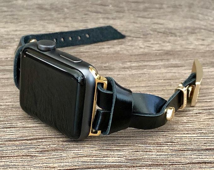 Apple Watch Band 38mm 40mm 42mm 44mm Gold Apple Watch Slim Bracelet Women iWatch Bracelet Black Italian Leather Wristband Jewelry