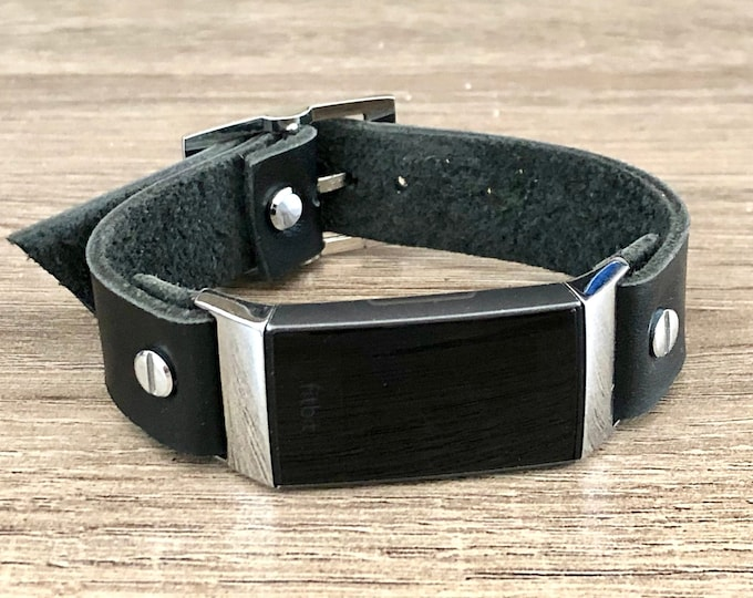 Fitbit Charge 4 Band Black Leather & Silver Bracelet Fitbit Charge 4 Wristband Genuine Leather Strap Adjustable Size Fitbit Charge 4 Jewelry