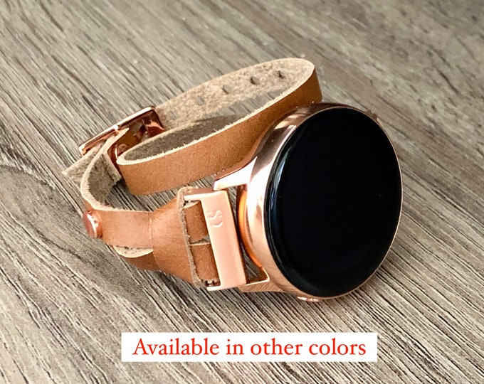 Bronze Brown Leather Band Galaxy Watch Active 40mm Rose Gold Jewelry Bracelet Samsung Galaxy Watch 42mm Double Wrap Smartwatch Wristband