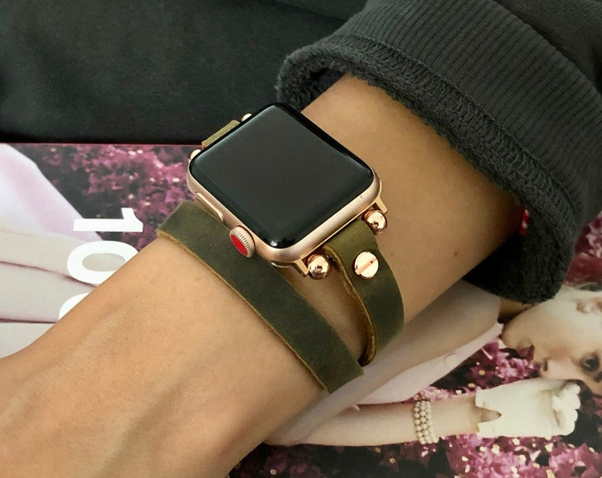 Leather Apple Watch Band 38mm 40mm 42mm 44mm Women iWatch Bracelet Rose Gold Apple Watch Wristband Vintage Olive Leather iWatch Strap Band