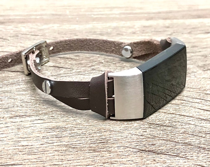 FITBIT CHARGE 3 Band Slim Dark Brown Leather Fitbit Charge 3 Strap Bracelet Stainless Steel Fitbit Charge 3 Genuine Leather Band Jewelry