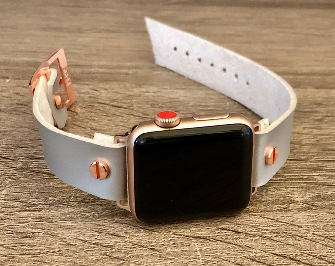 Gray Vegan Leather Rose Gold Apple Watch Band 38mm 40mm 42mm 44mm iWatch Eco-Friendly Bracelet Adjustable Wristband Rose Gold Watch Band