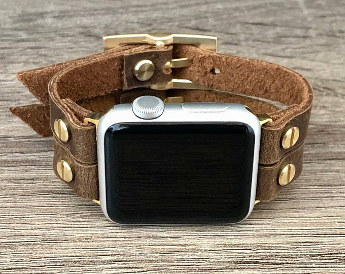 Brown Leather Apple Watch Band 38mm 40mm 42mm 44mm iWatch Bracelet Jewelry Gold & Rustic Leather Strap Apple Watch Bracelet iWatch Band