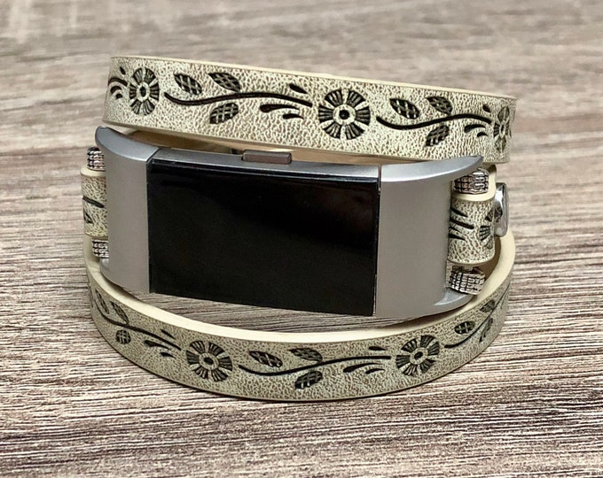 Rustic Beige Bracelet for Fitbit Charge 2 Tracker Adjustable Vintage Looking Embossed Flowers Jewelry Strap Handmade Fitbit Charge 2 Band