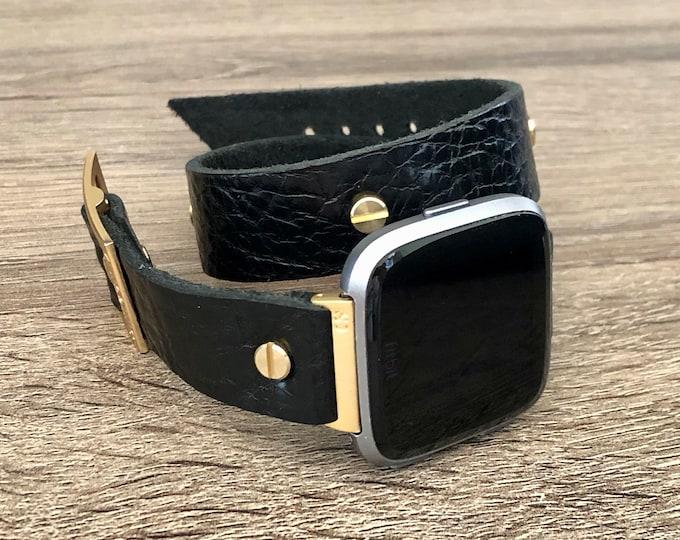Gold Fitbit Versa 2 Band Black Leather Fitbit Versa 2 Watch Strap Double Wrap Fitbit Versa Lite Watch Bracelet Adjustable Size Wristband