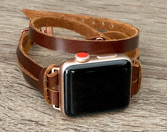Rose Gold & Brown Leather Apple Watch Band 38mm 40mm 42mm 44mm Apple Watch Bracelet Women iWatch Band Whiskey Color Apple Watch Wristband
