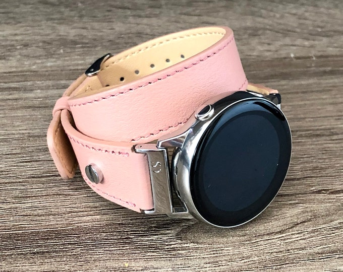Pink Leather Samsung Galaxy Watch Active2 Band Galaxy Active Watch Bracelet Adjustable Double Wrapped Strap Band 20mm Watch Band