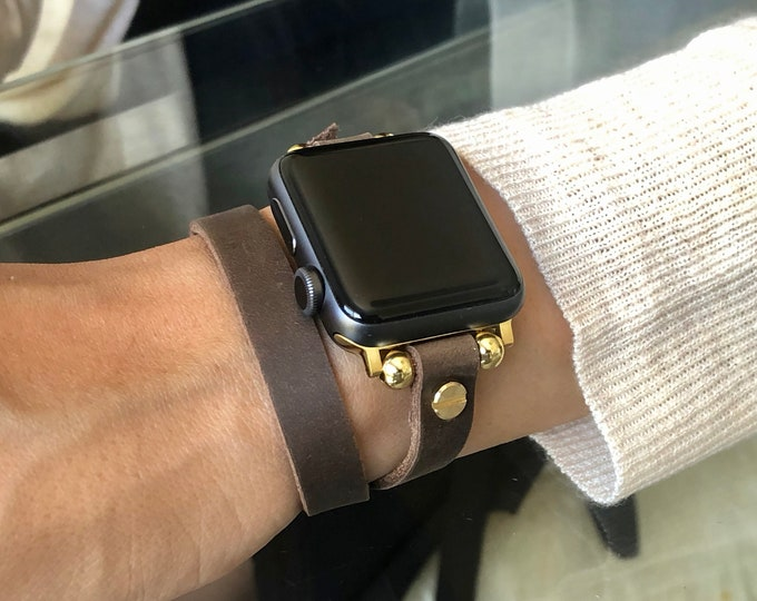 Gold Apple Watch Band Brown Leather & Gold iWatch Bracelet Double Wrap Apple Watch Strap Band Adjustable Watch Wristband 38mm 40mm 42mm 44mm