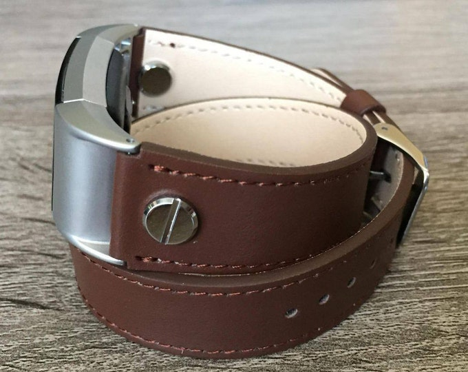 Brown Double Wrapped Eco Friendly Leather Bracelet For Fitbit Charge 2 With Silver Rivets Handmade Replacement Fitbit Charge 2 Band