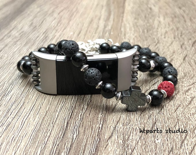 Handcrafted Onyx Set Bracelets for Fitbit Charge 2 Tracker Luxury Fitbit Charge 2 Onyx & Lava Beads Jewelry Sterling Silver Magnetic Closure