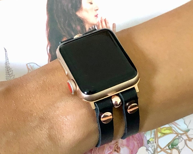 Leather Apple Watch Strap Bracelet Rose Gold Apple Watch Band 38mm 40mm 42mm 44mm Women iWatch Band Jewelry Apple Watch Cuff Wristband Black