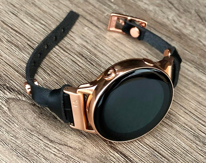 Rose Gold Galaxy Watch Active2 40mm Strap Band Black Leather Galaxy Watch 44mm Band Samsung Rose Gold Galaxy Watch Bracelet Jewelry