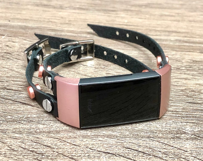 Two Toned Silver & Rose Gold Fitbit Charge 3 Band Double Straps Fitbit Charge 3 Bracelet Luxury Black Leather Fitbit Charge 3 Band Bracelet