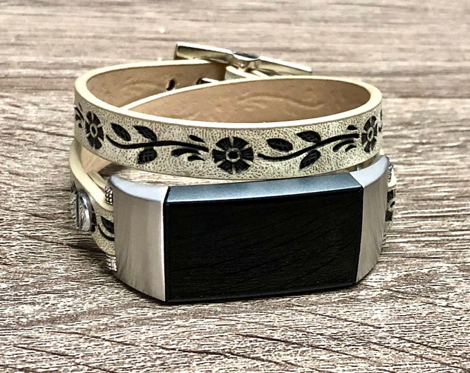 Rustic Beige Faux Leather Fitbit CHARGE 3 Band Double Wrapped FITBIT Charge 3 Strap Silver Fitbit Charge 3 Band Recycled Fitbit Wrap Band