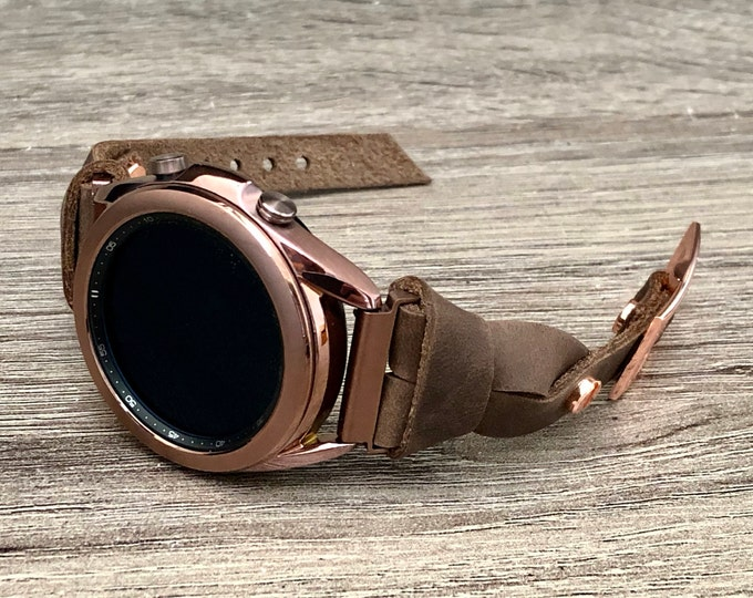 Bronze Samsung Galaxy Watch 3 Leather Bracelet 41mm Watch Band Slim Rustic Brown Leather Galaxy Watch 3 Band Adjustable Strap Wristband