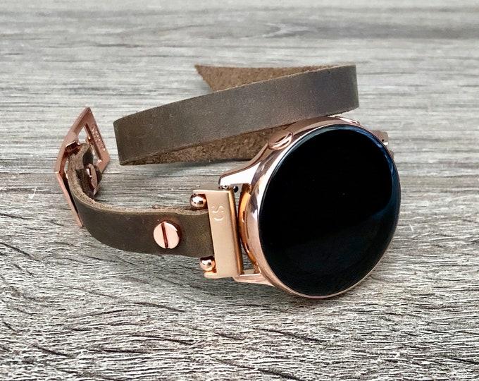 Samsung Galaxy Watch Band Vintage Brown Leather Galaxy Watch 42mm Band Samsung Galaxy Watch Active 40mm Rose Gold & Leather Strap Bracelet