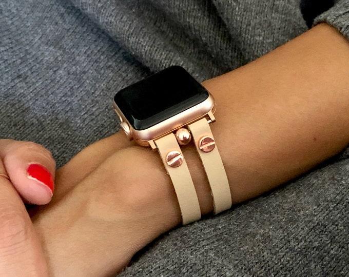 Vegan Cream Leather & Rose Gold Apple Watch Band 38mm 40mm 42mm 44mm Women iWatch Band Jewelry Cuff Wristband  Apple Watch Bracelet