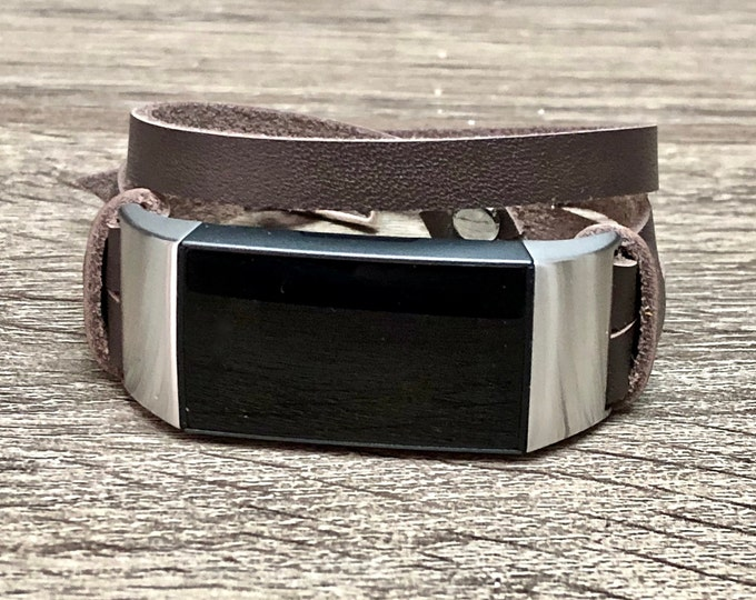 Chocolate Brown Leather Fitbit Charge 3 Band Double Wrapped Fitbit Charge 3 Strap Bracelet Stainless Steel Fitbit Charge 3 Leather Band