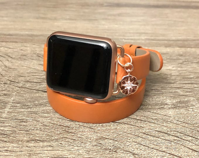 Brown Leather Bracelet for Apple Watch All Series Handmade Slim Wristband Rose Gold North Star Charm Adjustable Apple Watch Band Jewelry