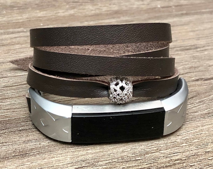 Genuine Brown Leather Strap for Fitbit Alta HR Band Tracker Handmade Multi Wrap Fitbit Alta Band Silver CZ Jewelry Ornament Gift
