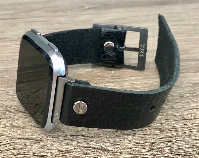 Black Leather Fitbit Versa 2 Watch Band Black Fitbit Versa Lite Watch Strap Adjustable Fitbit Versa Band Genuine Leather Watch Wristband