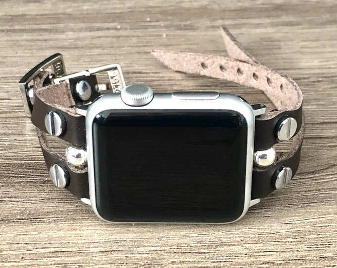 Vegan Apple Watch Band 38mm 40mm 42mm 44mm Dark Brown Eco-Friendly Leather Strap Apple Watch Bracelet Ultra Leather iWatch Band Jewelry