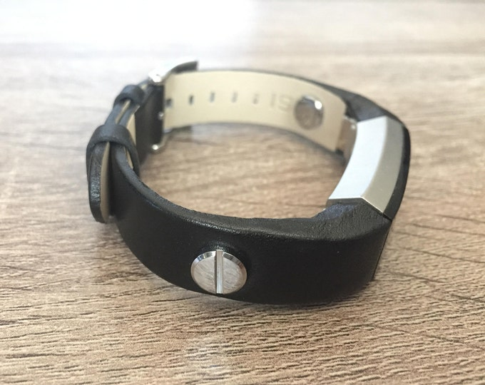 Designer Black Leather Bracelet For Fitbit Alta Silver Metal Screw Rivets Fitbit Alta Replacement Band Fitbit Alta Accessories Mom Dad Gift