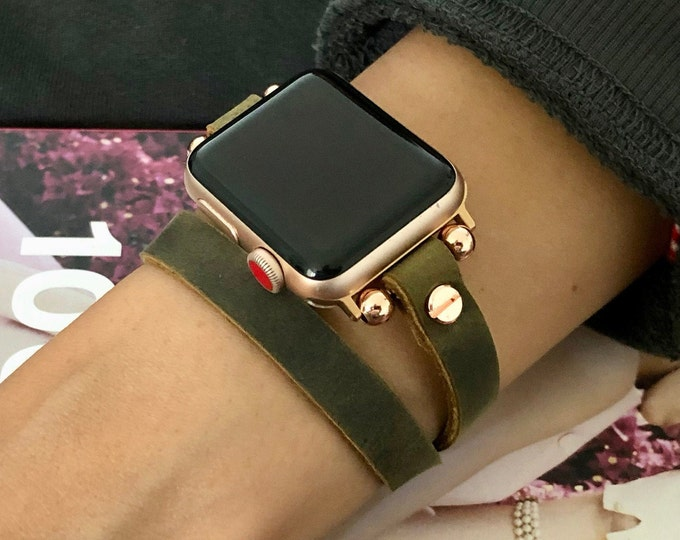 Apple Watch Band Women iWatch Bracelet 38mm 40mm 42mm 44mm Rose Gold Apple Watch Wristband Vintage Olive Color Leather iWatch Strap Band