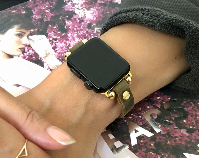 Apple Watch 38mm 40mm 42mm 44mm Band Vintage Leather & Yellow Gold Apple Watch Bracelet Rustic Olive Leather Strap Gold iWatch Wristband