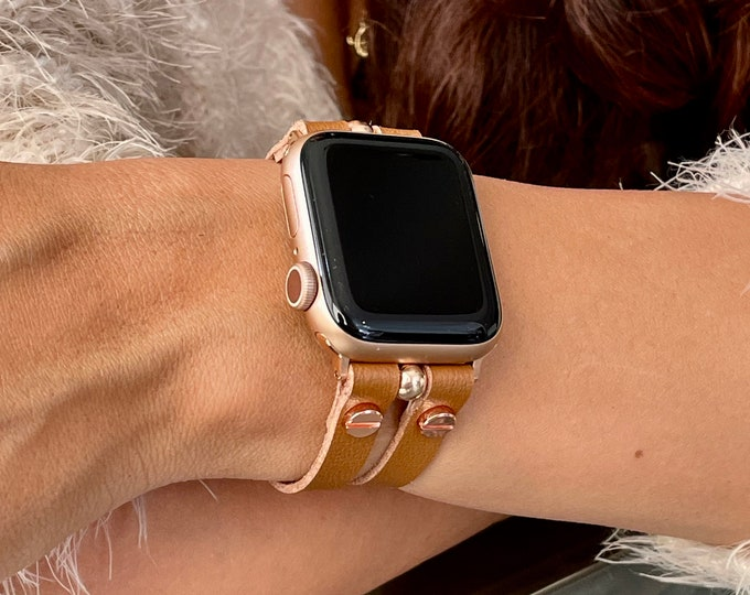 Vegan Leather Apple Watch Band 38mm 40mm 42mm 44mm Rose Gold Apple Watch Strap Apple Watch Wristband Tan Color Adjustable iWatch Bracelet