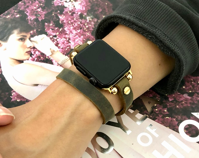 Gold Apple Watch Band Olive Leather & Gold iWatch Bracelet Double Wrap Apple Watch Strap Band Adjustable Watch Wristband 38mm 40mm 42mm 44mm